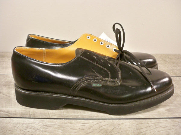 New Old Stock Vintage Union Made in USA Black Leather Oxford Soft Toe Postal Delivery Mail Deck Men's Shoes 10.5