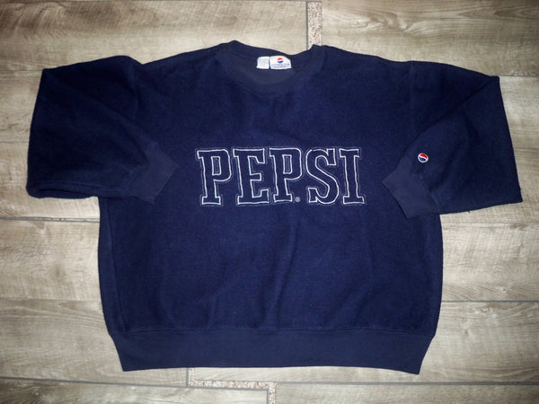 Vintage Pepsi Sweatshirt Blue Men's Pullover Fleece Sweater Spell Out Size Large