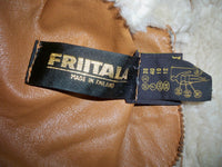 Vintage Friitala Made in Finland Brown Shearling Original Lambskin Bomber Coat Women's Jacket Size 10