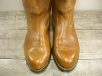 Cowboy Men's Western Leather BIKER Motorcycle Vintage Pull On Soft Toe Boots Size 9