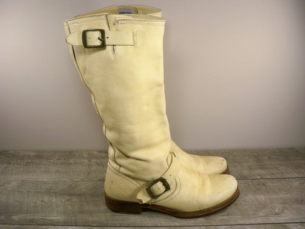 Frye 77606 Veronica Slouch Harness Riding Motorcycle Leather Womens Boots Size 8