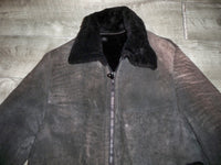 Vintage Made in USA Gray Shearling Original Bomber Coat Women's Jacket Size Small