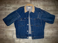 Vintage Polo Ralph Lauren Trucker Buckle Back Jean Denim Jacket Coat Men's Size Large