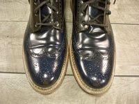 J D Fisk Black Patent Leather Wingtips Shoes Ankle Work Dress Boots Size 10.5