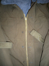 Vintage OTAVAN Czech Trebon Military Trench Parka Coat Army Fleece Size 180-10 M / Medium
