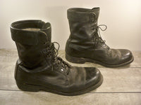 Vintage Addison Made in USA Men's Combat Military Work Motorcycle Riding Soft Toe Black Leather Boots 11.5