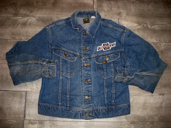 Vintage LEE Sanforized Chevy Chevrolet Patches Denim Jean Men's Jacket Size Medium