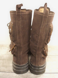 Vintage Ralph Lauren Made in Italy Cargo Pockets Ranger Leather Men's Soft Toe Boots Size 7.5
