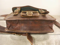 Vintage Leather Brown Rustic Scholar Attorney Lawyer Messenger Cross Body Shoulder iPad Bag Pack