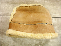Vintage Warm Brown Shearling Lined Winter Hat Real Leather Sherpa Mongolian Size Medium