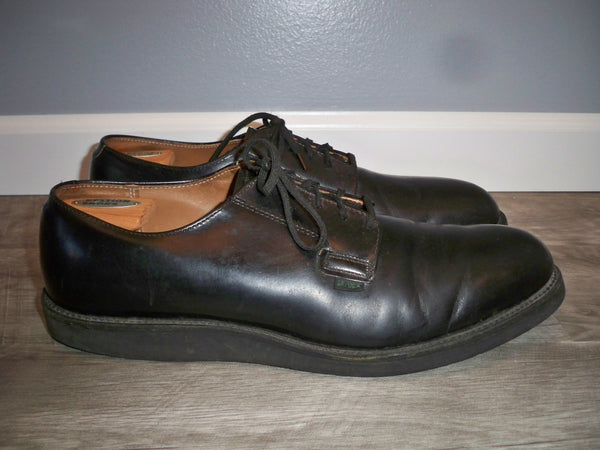 Vintage Red Wing 90's Postman 101 USPS Black Leather Oxford Derby Soft Toe Shoes Made in USA Size 13