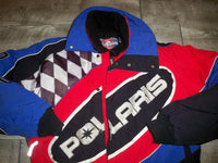 Vintage Polaris Snowmobile Sled Insulated Racing Men's Jacket Coat Size Small