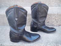 Montana Pull On Black Leather Roper Motorcycle Biker Chopper Men's Boots Size 10