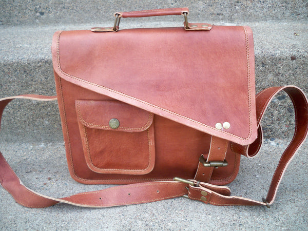 Vintage Brown Leather Brown Rustic Scholar School Attorney Lawyer Messenger Cross Body Shoulder iPad Laptop Bag Pack