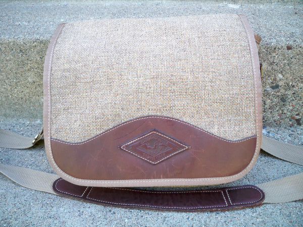 Vintage Brown Jute Material w/Leather Trim DIAMOND BLUFF Shoulder Soft Laptop Bag