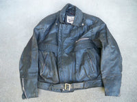 Vintage Open Road Distressed Leather Men's Black Chopper Motorcycle Riding Jacket Size 44