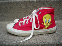 Vintage 90's Keds Looney Tunes Red High Top Shoes Sneakers Womens Kicks Size 8.5