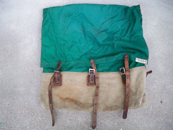 Vintage Voyageur Leather Backpack Camping Canoe Portage Bag Knapsack Canoeing