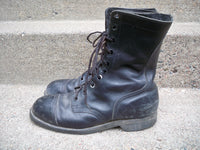 Vintage Made in USA Men's Combat Military Work Motorcycle Riding Black Leather Boots Size 9 Wide