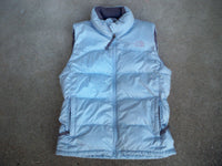North Face Nuptse 700 Goose Down Vest Jacket Women's Powder Blue Puffer Puffy Size Petite Small