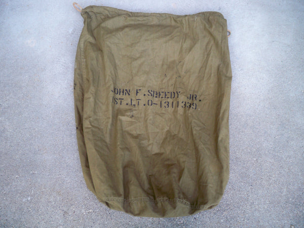 Vintage Vietnam War U.S. ARMY BARRACK Laundry Duffle Bag Olive Drab Stenciling Made in USA
