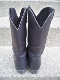 Vintage Georgia Black Leather Women's Pull On Rodeo Cowboy Western Soft Toe Boots Size 8.5