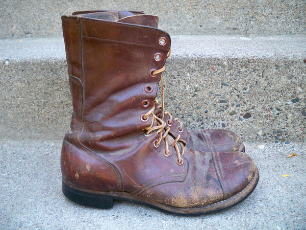 Post World War 2 II Vintage Trench Soldier Leather Service Combat Men's Soft Cap Toe Boots 10