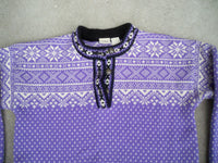 Vintage LL L.L. Bean Norwegian Nordic Metal Button Sweater Jacket Purple Women's Size Medium