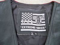 Vintage Black USA Extreme Leather Womens Riding Biker Chopper Motorcycle Vest Size XL