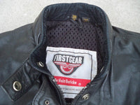 Vintage First Gear by Hein Gericke Black Leather Black Motorcycle Racer Men's Jacket Coat Size 38