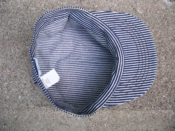 Vintage Broner Railroad Conductor Engineer Stripe Fitted Cap Hat Size Large Made in USA.