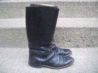 Vintage World War 2 II Era US Black Leather Calvary Riding Men's Soft Toe Lace Up Boots Size 8