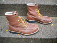 Vintage Tru-Guard Brown Leather Men's Work Riding Biker Work Motorcycle Boots Size 7