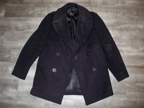 3d90b248 1972 Vintage US Navy Blue Wool Kersey Peacoat Vietnam Era 1970s Jacket  Men's Size 36