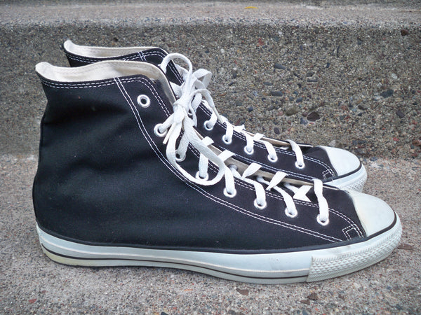 Vintage CONVERSE Chucks All Star Black Canvas High Top Men's Shoes Sneakers Kicks 14