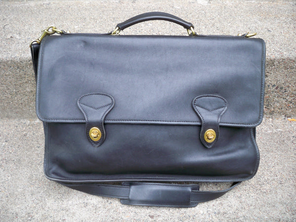 Jack Georges Briefcase Laptop Messenger Bag Black Leather Vintage Crossbody