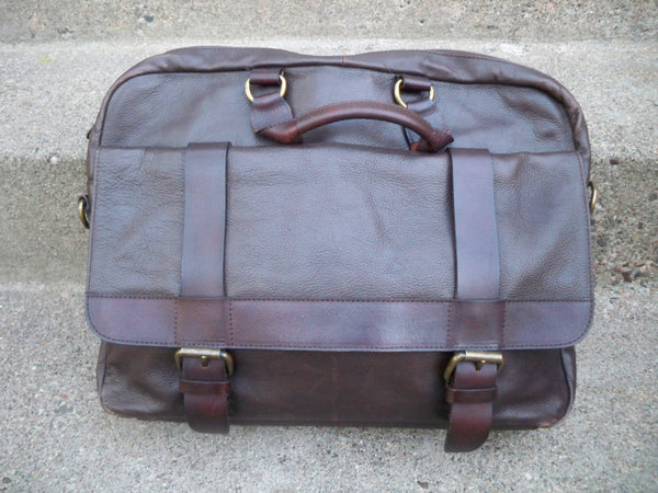 Vintage Thick Brown Gusset Leather Attorney's Lawyer Messenger Cross Body Shoulder Bag Pack