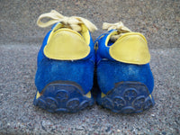 Vintage CONVERSE Blue & Yellow Low Top Leather Hipster Sneaker Shoes Size 7