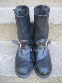 Vintage Made in USA Harness Riding Biker Motorcycle Engineer Black Leather Men's Steel Toe Boots 12