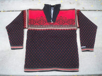 Men's Vintage Wool SWEATER Devold Norway Navy Cardigan Fair Isle Norwegian Windstopper LG