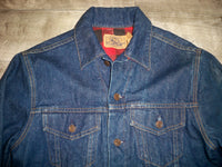 Vintage Plain Pockets Plaid Lined Denim Jean Men's Jacket Size 40 Large Made in USA