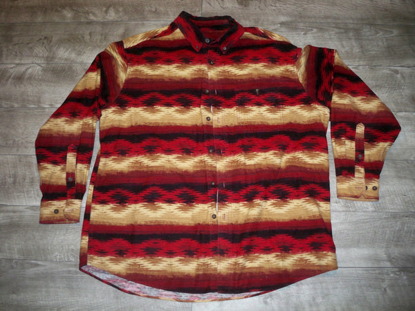 Vintage Woolrich Men's Indian Blanket Striped Wool Red Southwestern Shirt Size XLarge