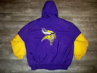 Vintage Minnesota Vikings NFL Logo 7 Football Parka Jacket Coat Men's Size XL Made in Korea