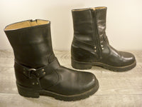 Xelement 2493 Classic Mens Black Harness Motorcycle Biker Leather Soft Toe Boots 8.5