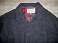 Vintage Land-N-Lakes Black Wool Hunting Cabin Work Chore Men's Coat Jacket Size XLarge Made in USA