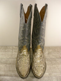 Vintage ACME Snakeskin Pull On Leather Mens Cowboy Western Boots Size 8