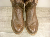 Vintage Dan Post Brown Leather Cowboy Men's Western Rancher Riding Boots Size 9
