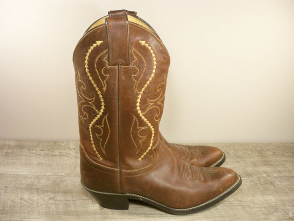 Justin Womens L4937 Coffee Saltillo Western Cowboy Leather PullOn Boots Size 8.5