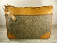 Vintage Hartmann Luggage Tweed & Belting Leather Natural Classic Business Carry On Bag