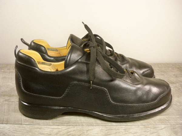 Hermes Paris Black Leather Men's Lace Up Oxfords Shoes Size 10 US